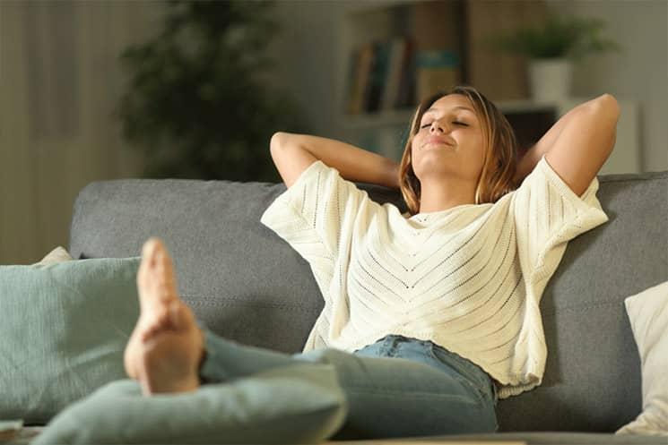 Breathe Easy - Woman on sofa