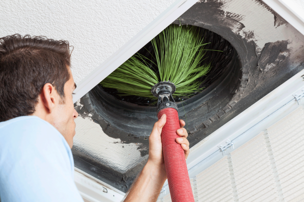 Tech cleaning air duct